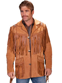 Scully Bead Trim Fringe Leather Coat – Bourbon - Men's Leather Western Vests and Jackets | Spur Western Wear