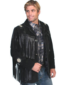 Scully Bead Trim Fringe Leather Coat – Black - Men's Leather Western Vests and Jackets | Spur Western Wear
