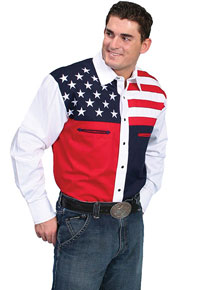 Scully Stars & Stripes Long Sleeve Snap Front Western Shirt - Men's Western Shirts | Spur Western Wear