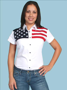 Scully Stars & Stripes Short Sleeve Western Shirt - Ladies Western Shirts | Spur Western Wear