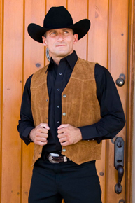 Cripple Creek Cow Suede Western Vest - Rust - Men's Leather Western Vests and Jackets | Spur Western Wear