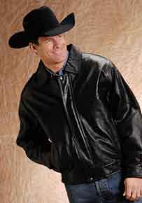 Roper Lamb Touch Nappa Leather Western Bomber Jacket - Black - Big & Tall - Men's Leather Western Vests and Jackets | Spur Western Wear