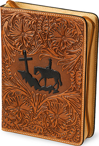 3-D Cross Mountain Leather Bible Cover - Western Leather Accessories | Spur Western Wear