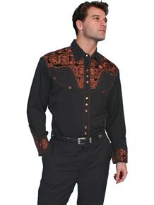 Scully Gunfighter Long Sleeve Snap Front Western Shirt - Black with Copper Roses - Men's Retro Western Shirts | Spur Western Wear
