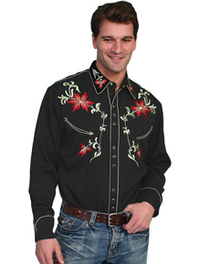 Scully Floral Jericho Shirt - Black - Men's Retro Western Shirts | Spur Western Wear