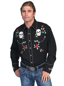 Scully Skulls And Roses Long Sleeve Snap Front Western Shirt - Black - Men's Retro Western Shirts | Spur Western Wear