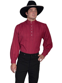 Scully Banded Collar Shirt - Burgundy - Men's Old West Shirts | Spur Western Wear