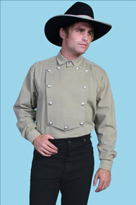 Wah Maker Bib Front Shirt – Silver Tone Button – Tan - Men's Old West Shirts | Spur Western Wear