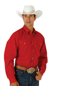 Roper Poplin Long Sleeve Two Pocket Button Front Western Shirt - Red - Men's Western Shirts | Spur Western Wear