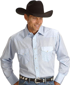 Wrangler Silver Edition Long Sleeve Western Shirt - Light Blue - Men's Western Shirts | Spur Western Wear