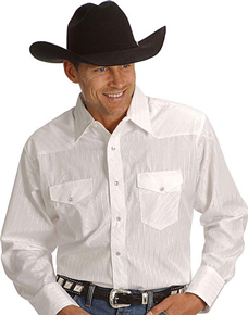 Wrangler Silver Edition Long Sleeve Western Shirt - White - Big & Tall - Men's Western Shirts | Spur Western Wear