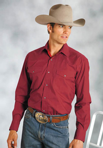Roper Red Poplin Long Sleeve Snap Front Western Shirt