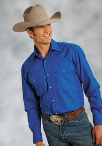 Roper Poplin Long Sleeve Snap Front Western Shirt - Royal Blue - Men's Western Shirts | Spur Western Wear