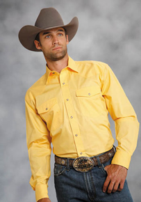 Roper Poplin Long Sleeve Snap Front Western Shirt - Yellow - Men's Western Shirts | Spur Western Wear