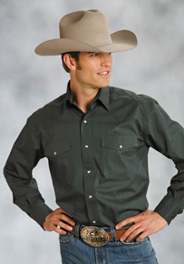 Roper Poplin Long Sleeve Snap Front Western Shirt - Green - Men's Western Shirts | Spur Western Wear