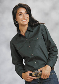 Roper Green Poplin Long Sleeve Snap Front Western Shirt - Ladies