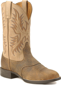 Ariat® Heritage Stockman Western Boot - Tumbled Brown/Beige - Men's Western Boots | Spur Western Wear