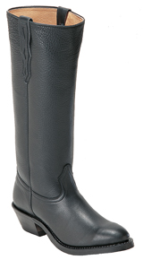 Boulet Black Deertanned Stove Pipe Cowboy Boot