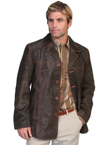 Scully Calf Suede Leather Blazer - Brown
