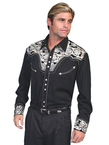 Scully Gunfighter Long Sleeve Snap Front Western Shirt - Black with Silver Roses - Men's Retro Western Shirts | Spur Western Wear