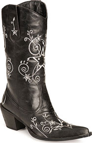 Roper Star & Scroll Embroidered Western Boots - Black