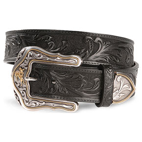 Tony Lama Westerly Ride Black Leather Belt