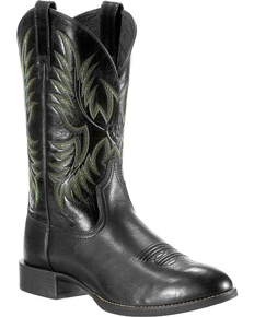 Ariat® Heritage Stockman Western Boot - Black Deertan/Shiny Black - Men's Western Boots | Spur Western Wear