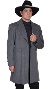 Wah Maker Wool Blend Frock Coat - Charcoal - Men's Old West Vests And Jackets | Spur Western Wear