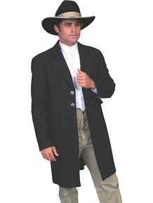 Wah Maker Flannel Wool Frock Coat - Black - Men's Old West Vests And Jackets | Spur Western Wear