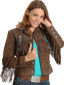 Scully Bead & Fringe Leather Western Jacket - Chocolate - Ladies Leather Jackets | Spur Western Wear