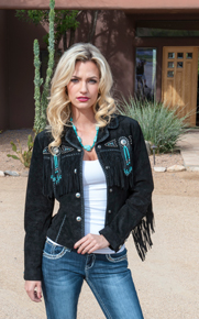 Scully Bead & Fringe Leather Western Jacket - Black - Ladies Leather Jackets | Spur Western Wear