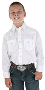 Wrangler Long Sleeve Western Shirt - White - Boys