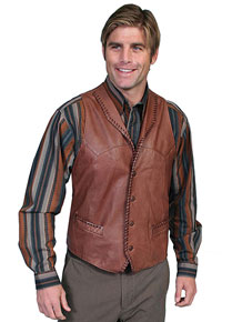 Scully Whipstitch Trim Leather Western Vest - Ranch Tan - Men's Leather Western Vests And Jackets | Spur Western Wear