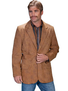 Scully Leather Western Blazer - Maple Brown - Men's Leather Western Vests and Jackets | Spur Western Wear
