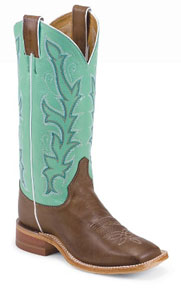Justin Bent Rail Albany Western Boot - Green - Ladies' Western Boots | Spur Western Wear