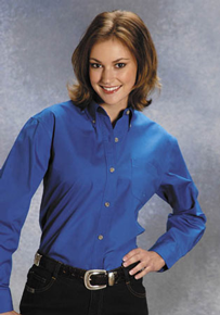 Roper Poplin Long Sleeve Button Front Western Shirt - Royal Blue - Ladies' Western Shirts | Spur Western Wear