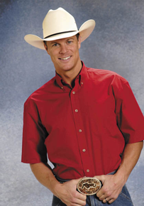 Roper Poplin Short Sleeve Western Shirt - Red - Men's Western Shirts | Spur Western Wear