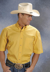 Roper Poplin Short Sleeve Western Shirt - Yellow - Men's Western Shirts | Spur Western Wear