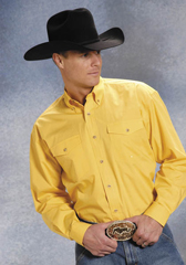 Roper Poplin Long Sleeve Button Front Western Shirt - Yellow - Big & Tall - Men's Western Shirts | Spur Western Wear