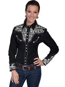 "Scully Black with Silver Roses ""Gunfighter"" Ladies Western Shirt"
