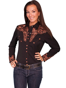 "Scully Black with Copper Roses""Gunfighter"" Ladies Blouse"