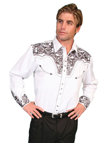 Scully Gunfighter Long Sleeve Snap Front Western Shirt - White with Pewter Roses - Men's Retro Western Shirts | Spur Western Wear