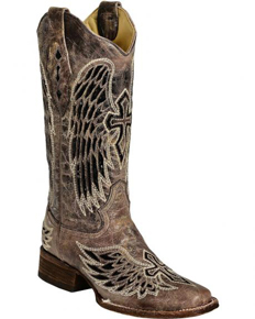 Corral Sequin Wing & Cross Inlay Cowgirl Boots - Square Toe