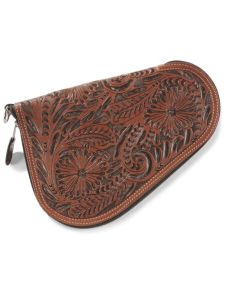 3D Floral Tooled Genuine Leather Medium Pistol Case - Mahogany - Western Leather Accessories | Spur Western Wear