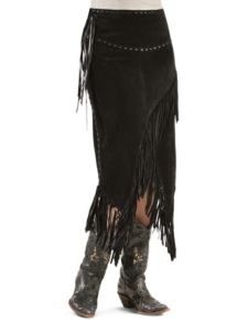 Scully Boar Suede Leather Fringe Skirt - Black - Ladies Skirts and Petticoats | Spur Western Wear