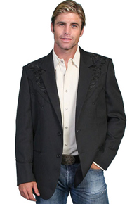 Scully Embroidered Sport Coat - Black with Black - Men's Western Suit Coats, Suit Pants, Sport Coats, Blazers | Spur Western Wear