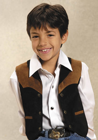 Roper Suede Leather Contrast Western Vest - Black - Boys' Leather Western Vests and Jackets | Spur Western Wear