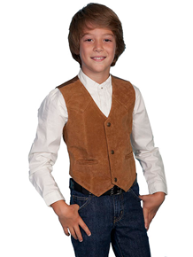 Scully Boar Suede Western Vest - Tan - Boys' Old West Vests And Jackets | Spur Western Wear