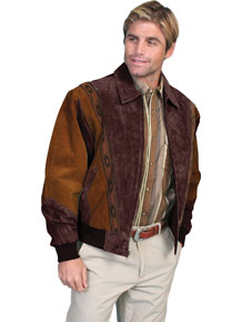 Scully Suede Leather Rodeo Jacket – Cafe Brown with Chocolate - Men's Leather Western Vests and Jackets | Spur Western Wear