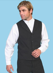 Wah Maker Brushed Cotton Vest - Black - Men's Old West Vests And Jackets | Spur Western Wear